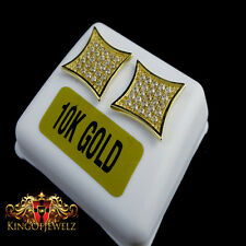 MENS LADIES 10K SOLID YELLOW GOLD BLOCK SQUARE FLAT SCREEN EARRING STUD 12 MM