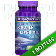 Piping Rock Eco Shark Liver Oil 500 mg/Squalene/Alkoxyglycerols 100 Softgels.
