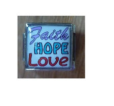 9mm Classic Size Italian Charm E88  Faith Hope Love