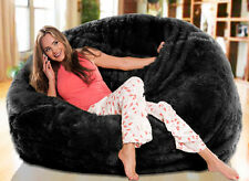 Large Luxe Black Faux Fur Soft Plush Fur Beanbag Cover Bean Bag Chair