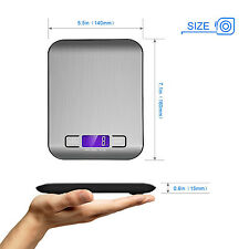NEW 11lb/5kg Digital Slim Stainless Steel Kitchen Food Scale Electronic Weight