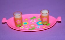 Vintage Barbie Reproduction Pink Serving Tray Drinks Glasses Fizz for DIORAMA