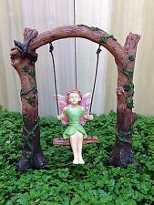 Miniature Dollhouse FAIRY GARDEN ~ Tree Arch with Fairy Girl on Swing Pick ~ NEW