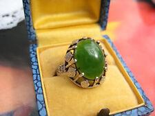 Antik edler Ring 835 Silber Nephrit Fischland Ostseeschmuck 60er sixties RG 18,5