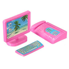 Kids Gift Doll Miniature Computer Monitor Keyboard Pink Office Decor For Barbie