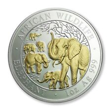 Somalia Elephant Herd Gold & Silver Crown 2008 100 Shillings Proof