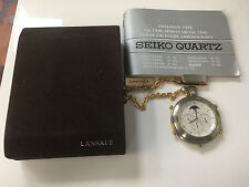LASSALE SEIKO POCKET WATCH NEW OLD STOCK CAC002J STOPWATCH 7A54 MOON PHASE