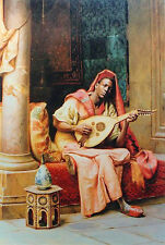 Oil painting Ludwig Deutsch - The musician Young Arab man playing Guitar canvas