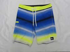 "Quiksilver Diffuse 21"" Blue Neon Yellow Striped Boardshorts Shorts Sz 32"