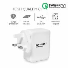 Sumvision Qualcomm 3.0 Quick Charger 2 x USB Ports 5V 2.4A Mains Socket Travel