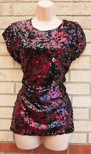 PRIMARK BLACK BURGUNDY FLORAL PRINT SEQUIN BEADED PARTY TOP TUNIC BLOUSE 8 S
