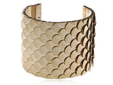 Funny Egyptian Scale Skin Texture Gold Tone Cuff Bracelet