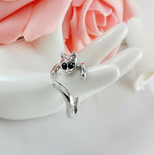 CAT RING with BLACK RHINESTONE EYES, Silver Tone, Thumb/ Wrap. ADJUSTABLE Kitten