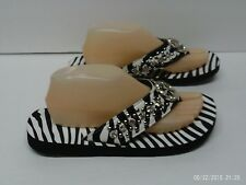Women's Size 10 Zebra B/W Flip Flops Sandals Thong Silver Star Medallion Bling