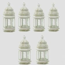 "6 Moroccan Style Lantern Creamy White Candleholder Wedding Centerpieces 12"" Tall"