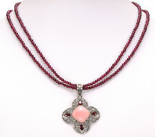 "Artisan Crafted Pink Opal Garnet Pendant w/ 18"" Garnet Sterling Silver Necklace"
