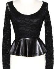 XS Black BOHO SteamPunk Lolita Gothic Goth Emo Lace Rockabilly Vampire Gypsy Top
