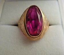 Vintage Soviet Rose Gold Ring 14K 583 Oval Ruby Size 7 Russian USSR