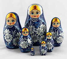 Blue Russian Matryoshka Wooden Nesting Dolls Russia Souvenirs Decor Collectible