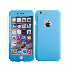 Apple Iphone 6 6s 4.7 blue hard shell case tampered glass front back cover