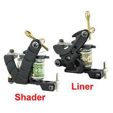 NEW 2x PRO Tattoo Machine Gun 10 Wrap Coils Equipment Supply Set - Liner Shader