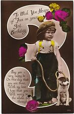 BIRTHDAY CARD NUMBERED 3 WITH BOY & HIS DOG REAL PHOTO POSTCARD