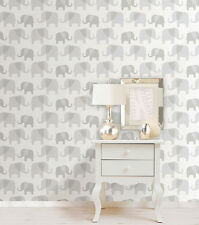 Nuwallpaper Elephant Parade Peel & Stick Wallpaper Gray nursery kid's room