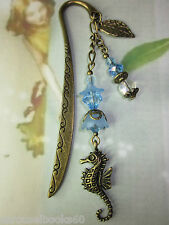Beaded Bookmark Sea Horse Flowers Animals Handmade Bronze Design Gift Idea