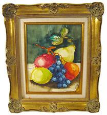 Still Life Fruits Oil Painting Framed In Antique Ornate Gold Gilded Frame
