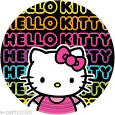 HELLO KITTY Neon Tween LARGE PLATES (8) ~ Birthday Party Supplies Dinner Lunch