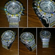 Mens white Gold Finish Watch Stainless Steel Iced Out Simulated Diamonds
