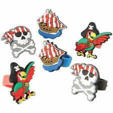 12 Pirate Jolly Roger Rubber Rings Kid Party Goody Loot Bag Filler Favor Supply
