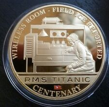 Titanic Centenary 24ct Gold-Plated Cook Islands $1 2012 Wireless Operators + COA