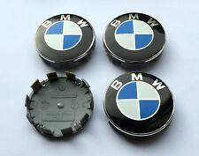 Set of 4 Wheel Centre Caps BMW Logo 10 clips 68mm E38 E39 E60 E70 F10 X3 X5 X6