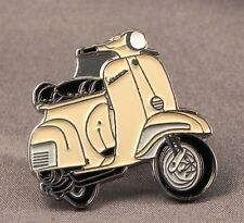 Metal Enamel Pin Badge Brooch Vespa Scooter Motorbike Bike Biker Rider Cream
