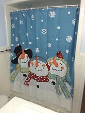 Frosty & Friends Snowman Fabric Shower Curtain Red Cardinals Snowflake Curtain
