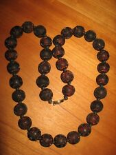 "Vintage Cinnabar 25"" large .5"" bead longevity shou china red brown necklace A9"