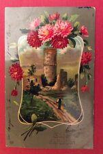 CPA. 1910. Paysage. Tour. Fleurs. Gage d'affection. Couleurs Vives.