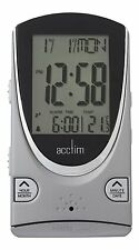 ACCTIM PORTO TITANIUM MULTI FUNCTION LCD ALARM CLOCK WITH BACK LIGHT FUNCTION