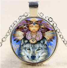 Native American And Wolf Cabochon Glass Tibet Silver Chain Pendant  Necklace