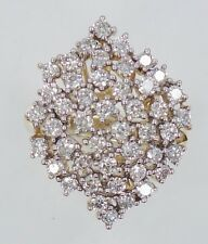 Amazing ~2ctw 45 Round Diamond Cluster Cocktail Ring 14K Yellow Gold Estate Ring