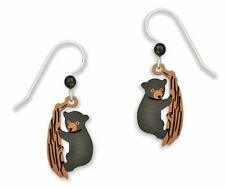 Sienna Sky Baby BEAR Cub Climbing Tree EARRINGS Sterling Silver Dangle - Boxed