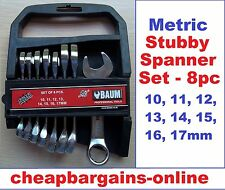 STUBBY SPANNERS SET 8pc METRIC COMBINATION SPANNER SET SHORT WRENCHES HAND TOOL