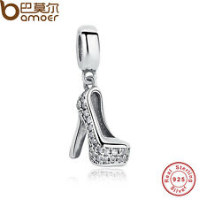 S925 Sterling Silver Charm With Crystal High-heeled shoes Fit European Bracelets