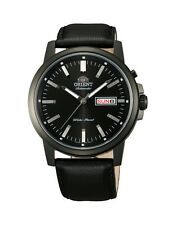 Orient Starfish FEM7J001B9 EM7J001B9 Black Dial Black Leather Band Men's Watch