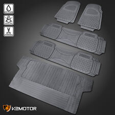 Gray Heavy Duty All Weather 3 Row Floor Mat Front+Rear+Trunk Seat Truck SUV