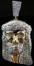 0.50C Mens 10K Yellow Gold Custom Made Jesus Face Head Cross Pendant Charm Piece