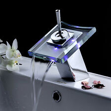 LED Glass spout Waterfall Bathroom Basin & Kitchen Sink Mixer Tap Faucet gv-7185