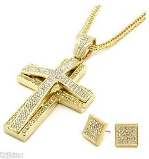 Mens Large Two Cross Gold Iced Out Pendant 36 Inch Necklace Franco Chain G10
