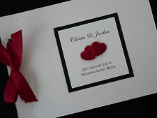 Personalised Handmade Wedding Card Guest Signing Book - padded hearts 14 colours